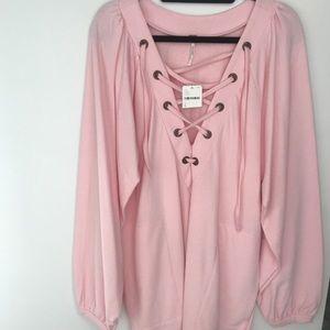 Free people pink sweatshirt dress
